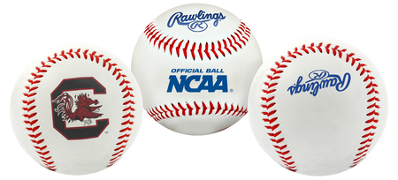3 views of a NCAA South Carolina Gamecocks baseball with a team logo, NCAA logo and Rawlings logo