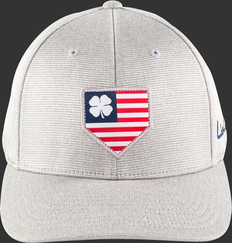 Front View Of Rawlings Light Gray Black Clover Special Edition All Star Fitted Hat - SKU #RBCAS