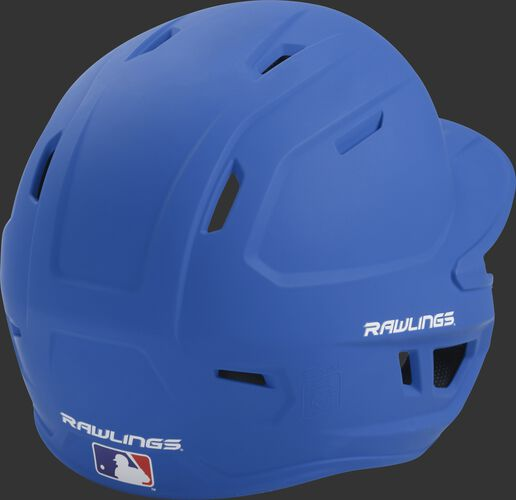 Back right of a one-tone matte royal MACH Rawlings senior size batting helmet