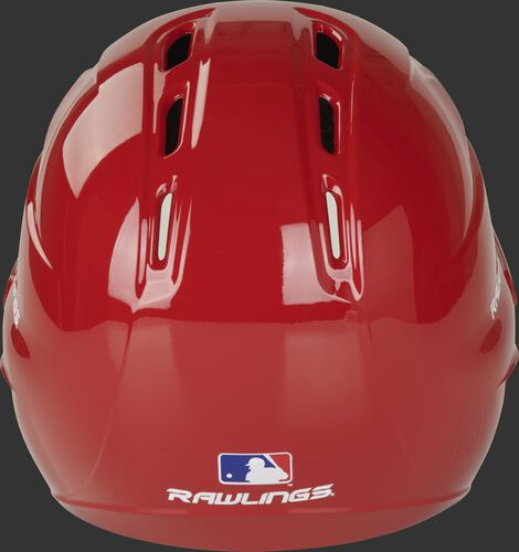 Back of a gloss scarlet R1601 Velo batting helmet with the Official MLB logo sticker