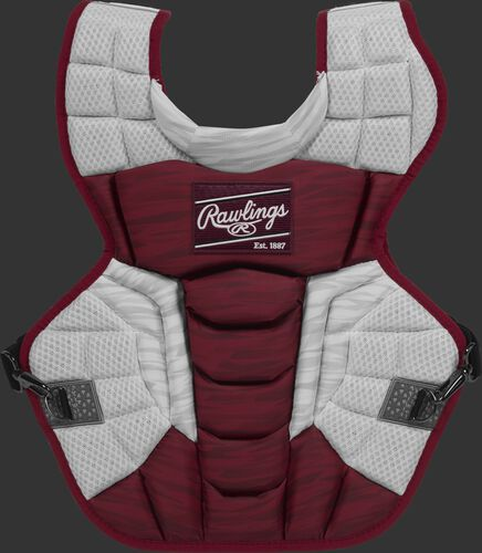 A cardinal/white CPV2N Rawlings Velo 2.0 intermediate chest protector with a striped pattern