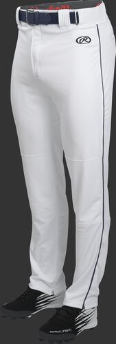 Front of Rawlings White/Navy Adult Launch Piped Semi-Relaxed Baseball Pant - SKU #LNCHSRP-BG/B-88