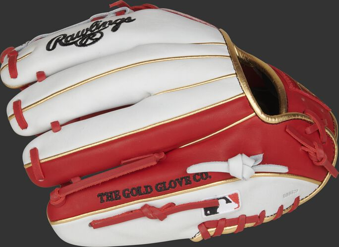 Fingers of a white/scarlet Rawlings HOH exclusive infield glove with the Official Glove of MLB logo