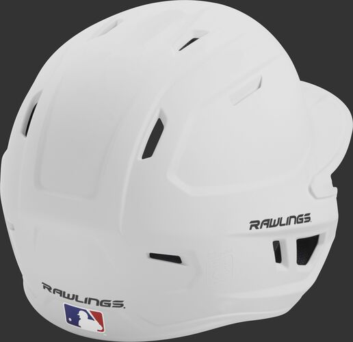 Back right of a one-tone matte white MACH Rawlings senior size batting helmet