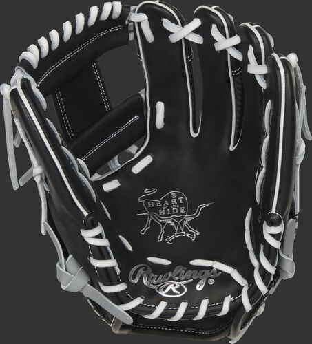 Black palm of a Rawlings Heart of the Hide ColorSync 5.0 infield glove with a black web and white laces - SKU: PRO205W-2BWG