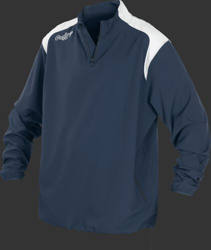 Front of Rawlings Navy Youth Long Sleeve Quarter-Zip Jacket - SKU #YFORCEJ-B-89