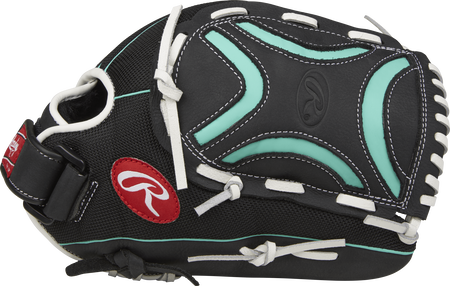 Thumb view of a black CL125BMT Champion Lite 12.5-inch softball outfield glove with a black/mint Decorative X web