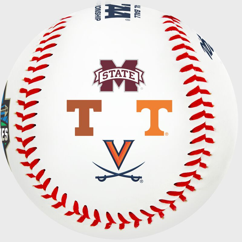 Mississippi State, Texas, Tennessee and Virginia logos on a College World Series contenders baseball - SKU: 35393012531