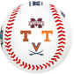 Mississippi State, Texas, Tennessee and Virginia logos on a College World Series contenders baseball - SKU: 35393012531 image number null