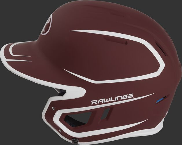 MACH Junior Rawlings batting helmet with a two-tone matte cardinal/white shell