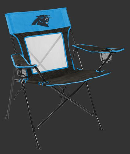 Front of Rawlings Blue and Black NFL Carolina Panthers Game Changers Chair With Team Logo SKU #00651090111