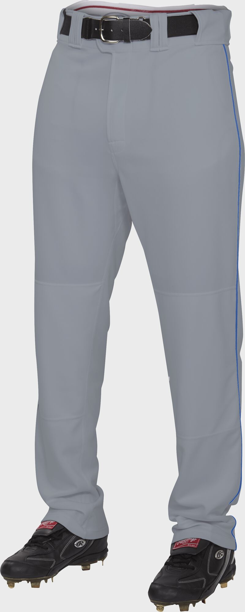 Front of Rawlings Blue Gray/Royal Adult Semi-Relaxed Piped Pant - SKU #PRO150P-BG/R