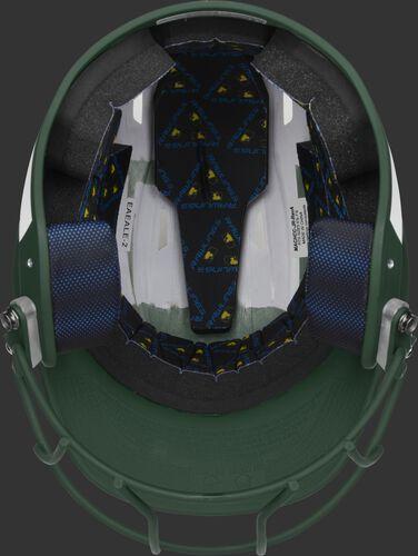 Black foam padding on the inside of a Rawlings Mach fastpitch helmet - SKU: MSB13S-W/DG