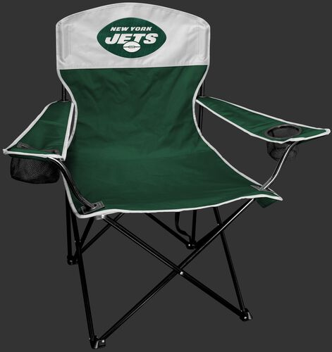 Front of Rawlings Green and White NFL New York Jets Lineman Chair With Team Logo SKU #31021079111