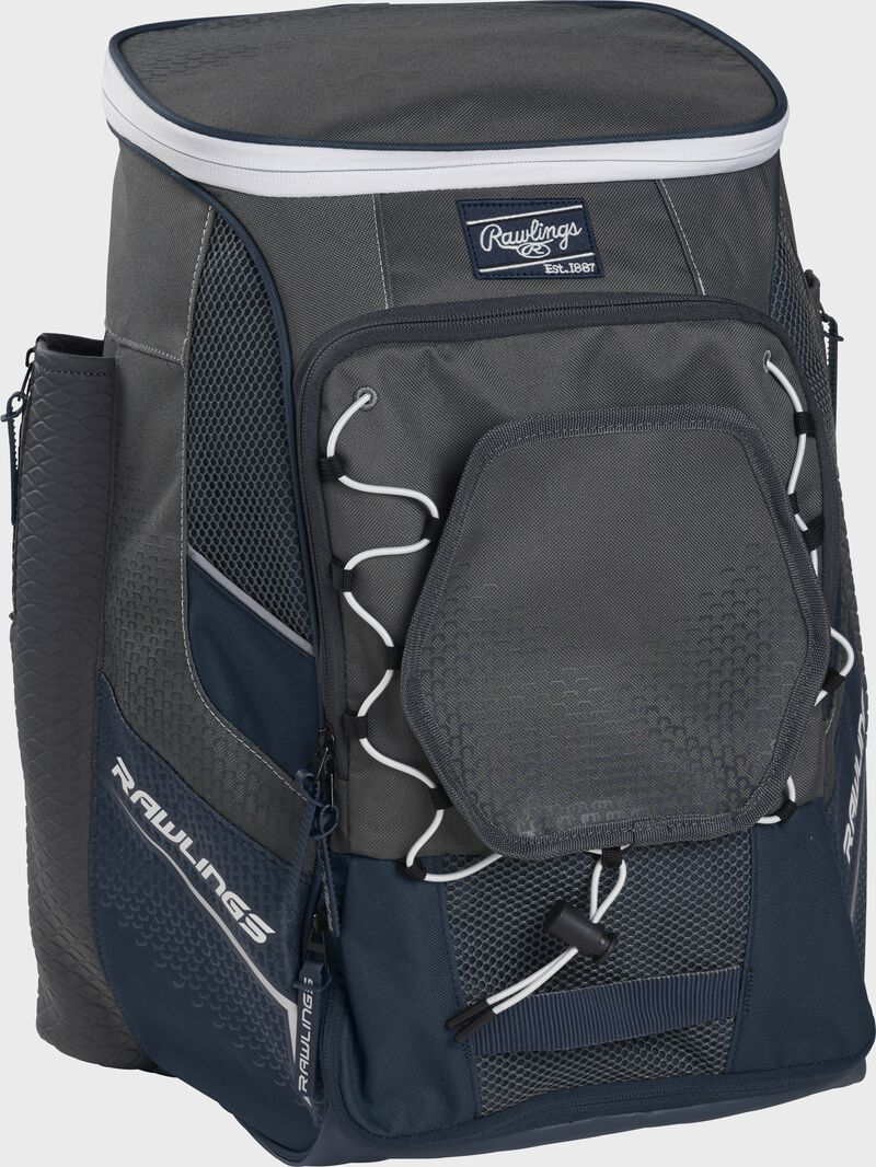 Front left angle of a navy Rawlings Impulse bag with gray accents - SKU: IMPLSE-N
