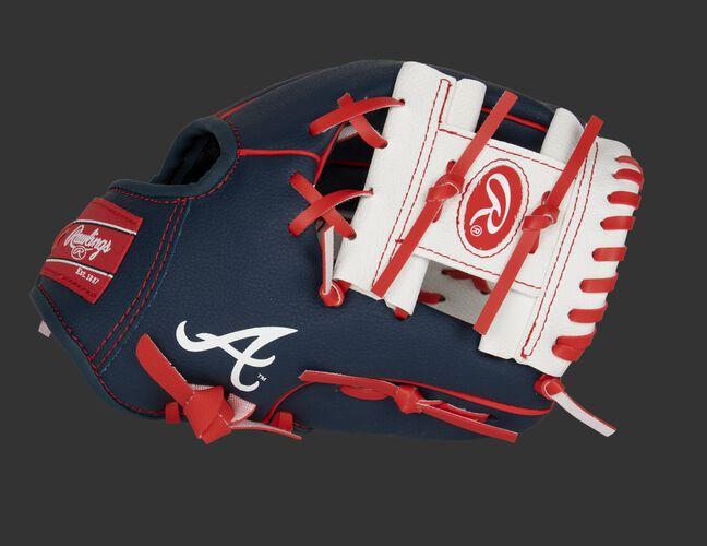 Thumb of a navy/white Atlanta Braves 10-inch team logo glove with a white I-web - SKU: 22000005111