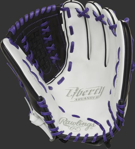 RLA125-18PU Rawlings Liberty Advanced Color Series glove with a white palm and purple laces