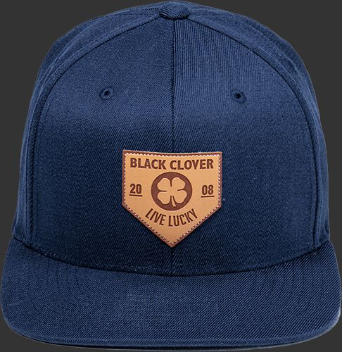 Front of a navy Rawlings Black Clover hat with a flat bill and leather patch home plate logo - SKU: BCR1LPFN0071