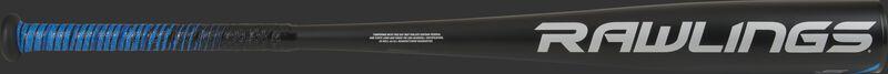 White Rawlings logo on the barrel of a black 2021 -5 Rawlings 5150 USA baseball bat - SKU: US155