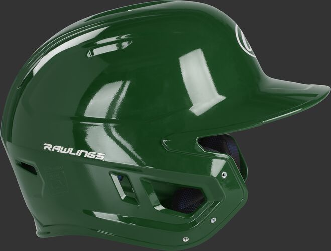 Right side of a MCC01A Rawlings Mach gloss helmet with a dark green shell and compatible with a MEXT face guard extension