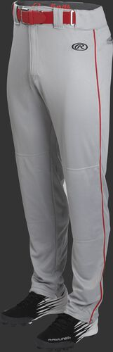 Front of Rawlings Blue Gray/Scarlet Adult Launch Piped Semi-Relaxed Baseball Pant - SKU #LNCHSRP-BG/B-88