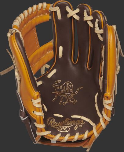 PROR205W-2CHBLEMA Rawlings Heart of the Hide R2G BLEM glove with a chocolate palm, tan web and camel laces