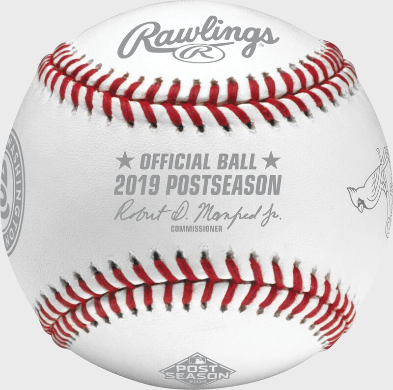An official NLCS19DL 2019 National League Championship Series dueling baseball with the league commissioner's signature