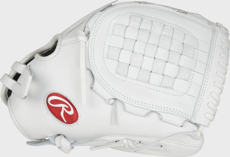 Thumb view of a white PRO125SB-3W Heart of the Hide 12.5-inch Fastpitch infield glove with a white Basket web
