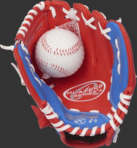 PL91SR Rawlings 9-inch tee ball glove with a scarlet palm, white laces and soft core ball included