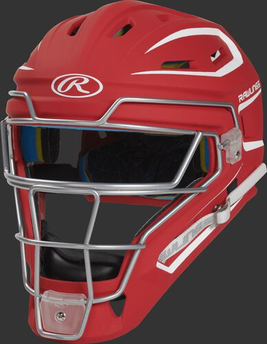 CHMCHS scarlet Mach adult catcher's helmet with white trim