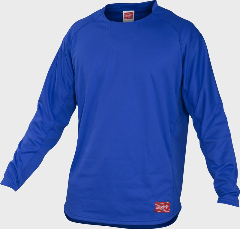 Front of Rawlings Royal Youth Long Sleeve Shirt - SKU #YUDFP3-R