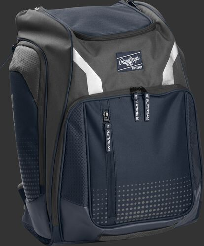 Right angle view of a navy Rawlings Legion backpack - SKU: LEGION-N