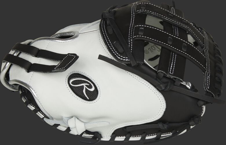 Thumb of a white/black RLACM33FPBP Liberty Advanced Color Series 33-inch catcher's mitt with a black H web