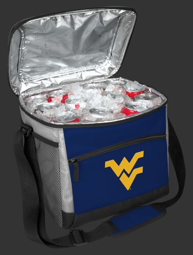 An open West Virginia Mountaineers 24 can cooler filled with ice and drinks - SKU: 10223114111