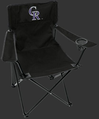Front of Rawlings Black MLB Colorado Rockies Gameday Elite Chair With Team Logo SKU #06110025111