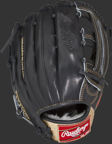 RGG303-6B 12.75-inch Gold Glove Series H web glove with a black back and gold wrist strap