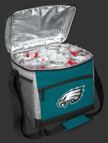 An open green Philadelphia Eagles 24 can cooler filled with ice and drinks - SKU: 10211080111