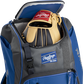 A Rawlings baseball glove in the top compartment of a Franchise baseball backpack - SKU: FRANBP-R image number null