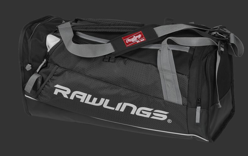 Side angle view of a black R601 Hybrid players bag with a Rawlings logo on the side