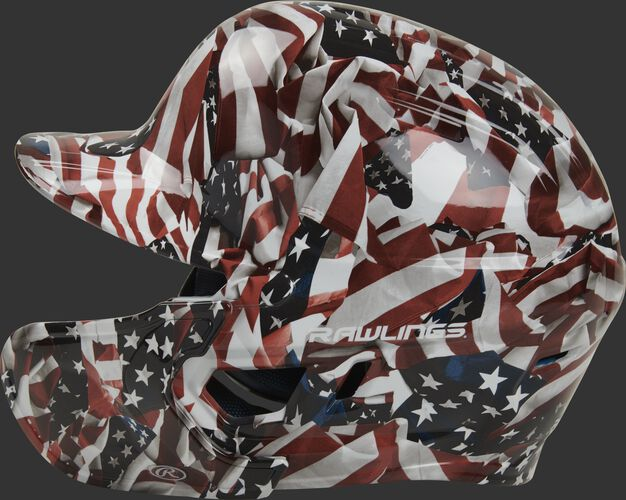 Left side of a MACHEXTR-USA Rawlings Mach EXT batting helmet with an MEXT face guard extension attached