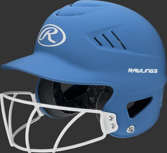 A carolina blue RCFHLFG Coolflo batting helmet with a white facemask