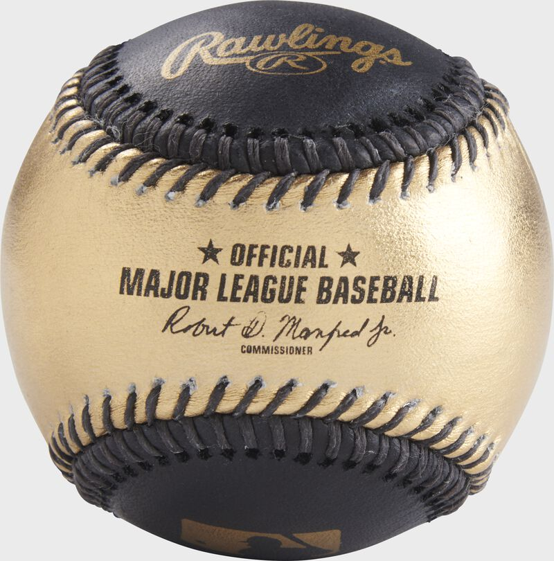 A gold/black MLB official baseball with the commissioner's signature - SKU: RSGEA-ROMLB/B-R
