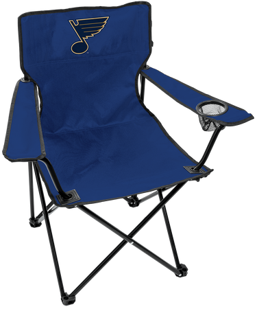 NHL St. Louis Blues Gameday Elite tailgating chair with a mesh cup holder and team logo printed on the back