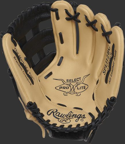 SPL112BC Rawlings 11.25-inch Brandon Crawford youth glove with a camel palm and black laces