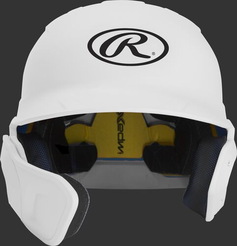 Front of a matte white MACHEXTL high school/college Mach batting helmet with face guard extension for left hand batters