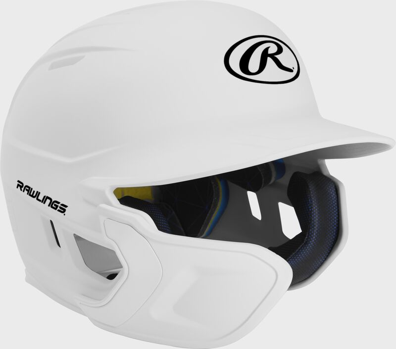 Right angle view of a matte white MACHEXTL Mach Junior helmet with Mach EXT left hand batter face guard extension