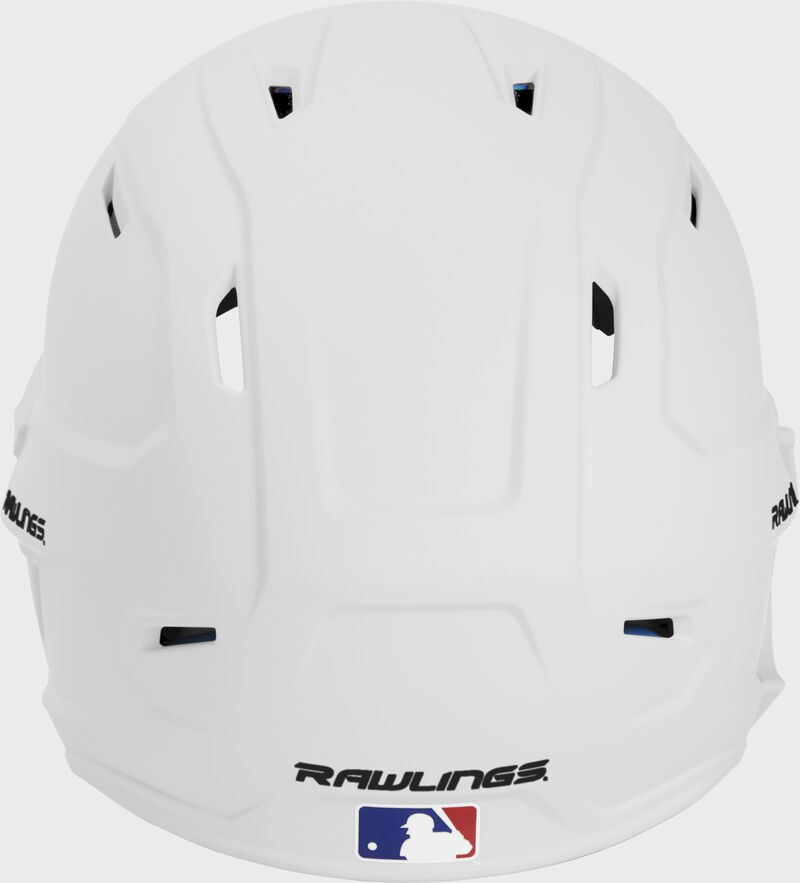 Back of a MACHEXTL high performance junior MACH helmet with a matte white shell and Official Batting Helmet of MLB logo