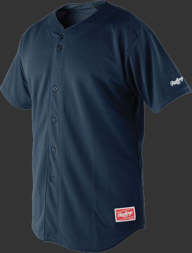Front of Rawlings Navy Adult Short Sleeve Jersey  - SKU #RBJ150