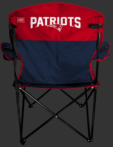 Back of Rawlings Navy and Red NFL New England Patriots Lineman Chair With Team Name SKU #31021076111
