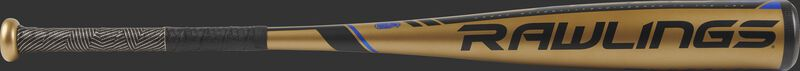 UT9V10 USSSA Velo -10 bat with a gold barrel and black/blue accents